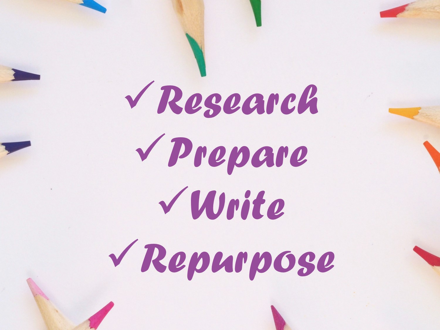 Our copywriting approach is based on a four step process. Research, Prepare, Write and Repurpose