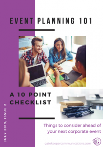 Event planning 101 - the front cover of a dedicated e-book designed to help businesses make the most of their corporate events