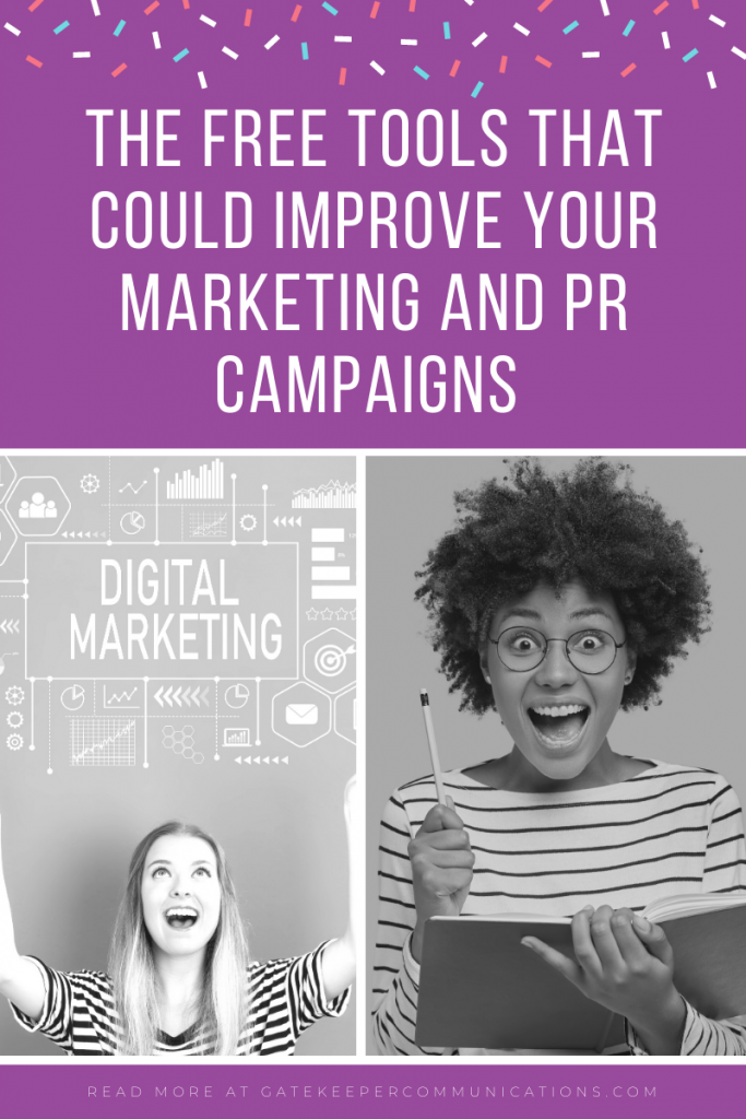Blog graphic to highlight a blog which discusses the free tools that can improve your marketing and PR campaigns